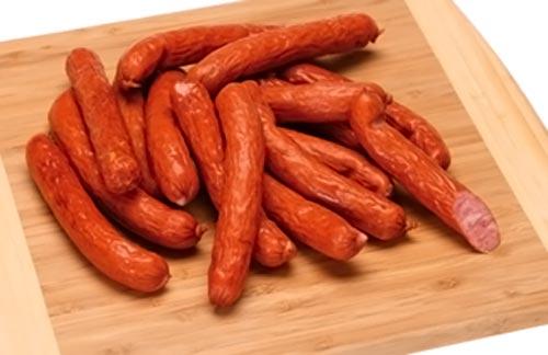 Копчено-вареные колбаски