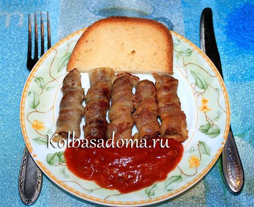 Колбаски Чевапчичи с беконом
