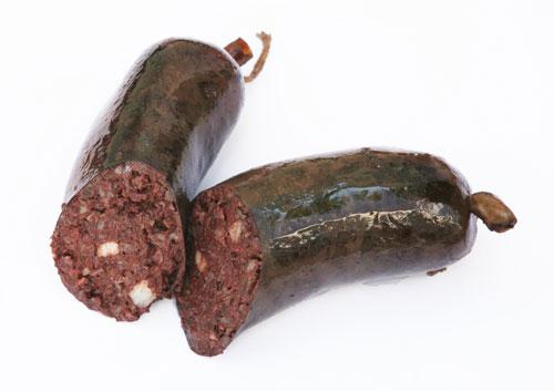 кровяная колбаса с рисом и грибами